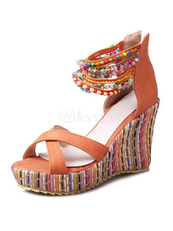 334fb38aaf6 ... Boho Wedge Sandals Ecru White Open Toe Beaded Ankle Strap Sandal Shoes-No.3  ...