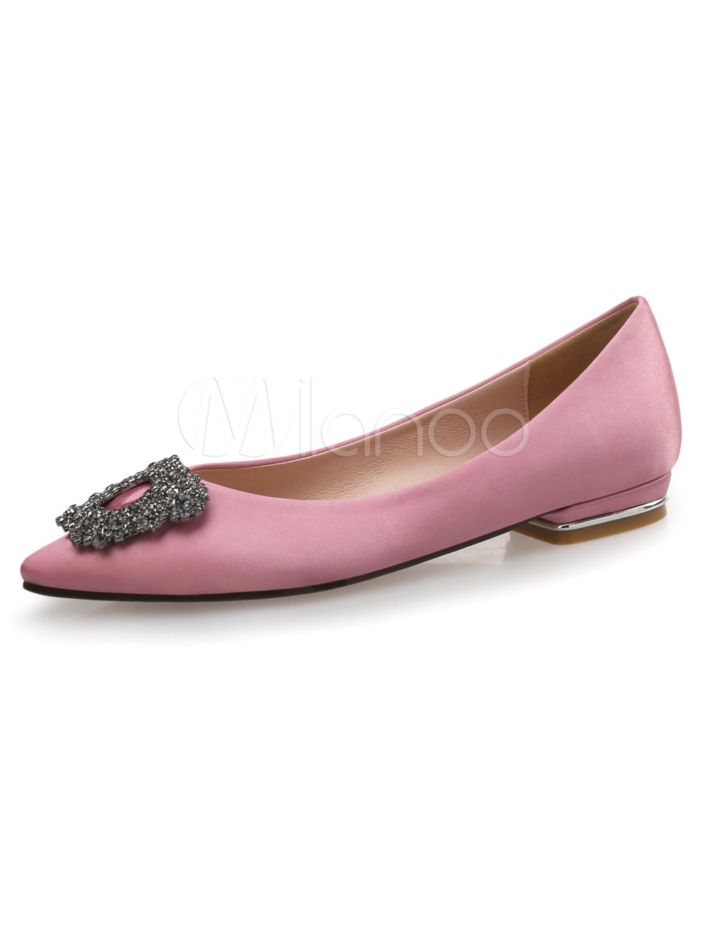 Buy Satin Ballet Flats Cameo Pink Pointed Toe Rhinestones Beaded Slip On Pumps for $37.99 in Milanoo store