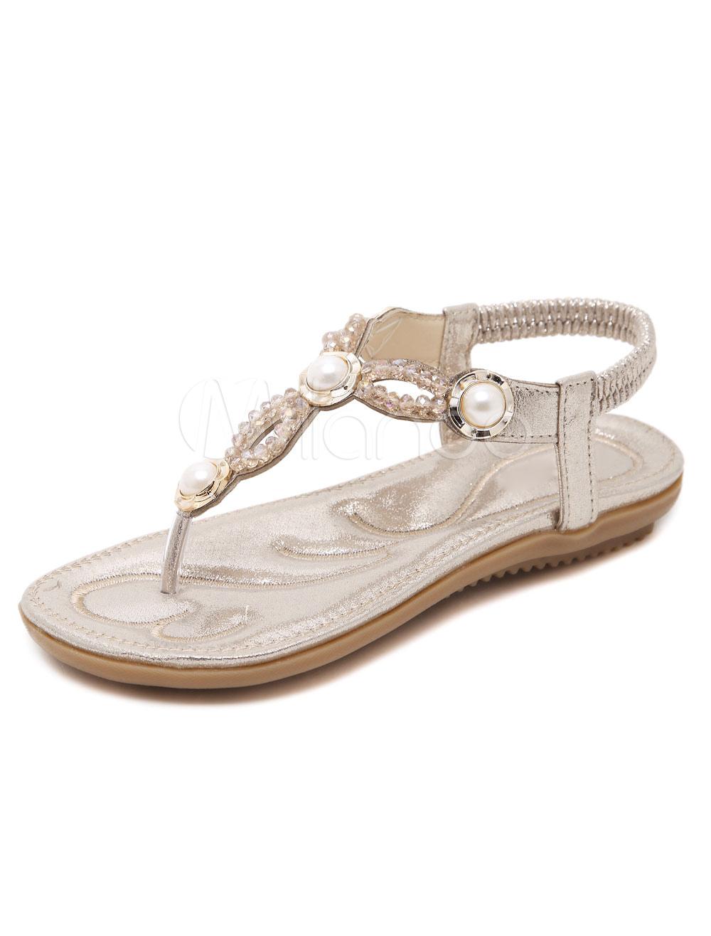 Sandales Pour Mode Unicolore Été Pu Femme Avec Perles Talon OkZiuPXT