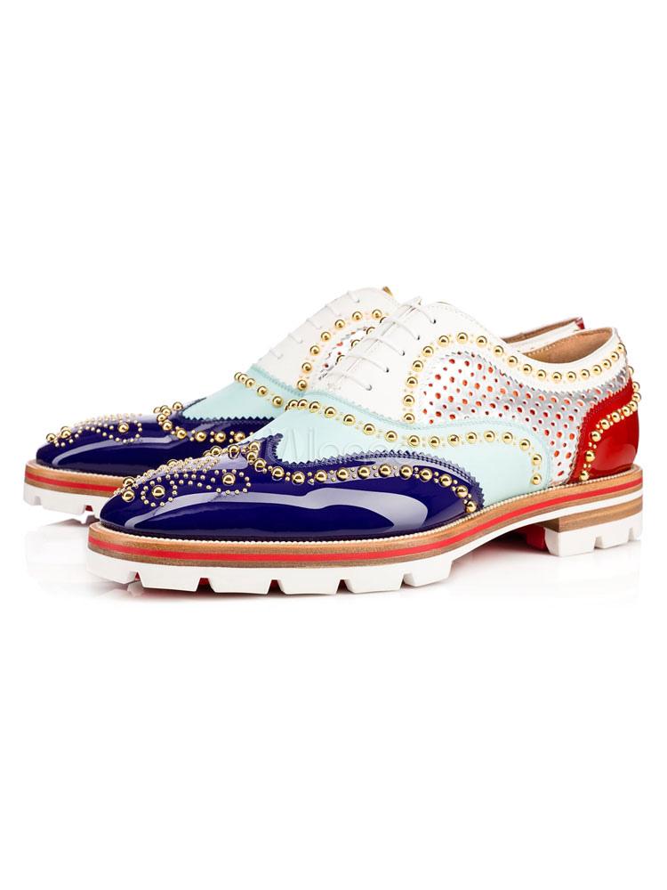 Zapatos de vestir de tacón gordo de puntera redonda de cuero Artísticos con remache estilo modernopara hombre Otoño PweA4g