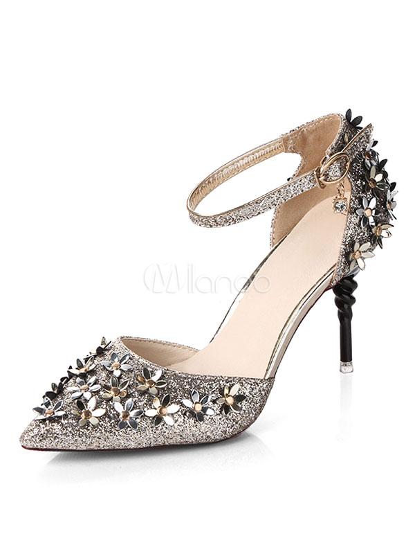 Zapatos de tacón de puntera puntiaguada de PU Color liso de tacón irregular IrDPa