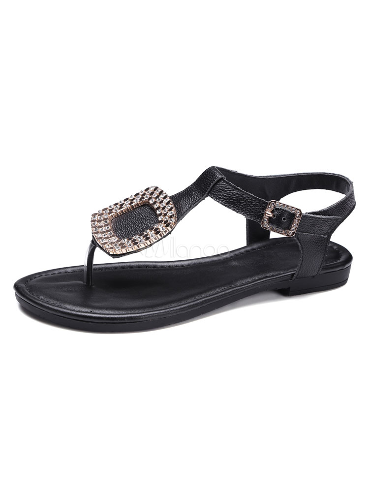 White Flat Sandals Women's Toe Post Rhinestones T Type ...