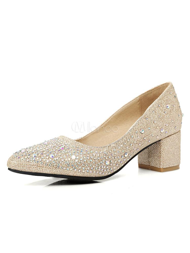 Zapatos de tacón medio estilo moderno para fiesta de tacón gordo de tela brillante de puntera puntiaguada r8kl9