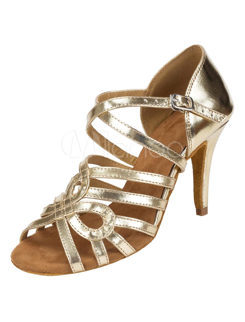 Zapatos de bailes latinos de puntera abierta de tacón de stiletto de PU para baile jrlkEPj