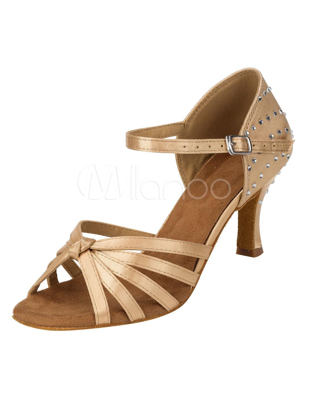 Zapatos de bailes latinos de puntera abierta Tacón bobina de satén con pedrería para baile GJa9xqUNZ