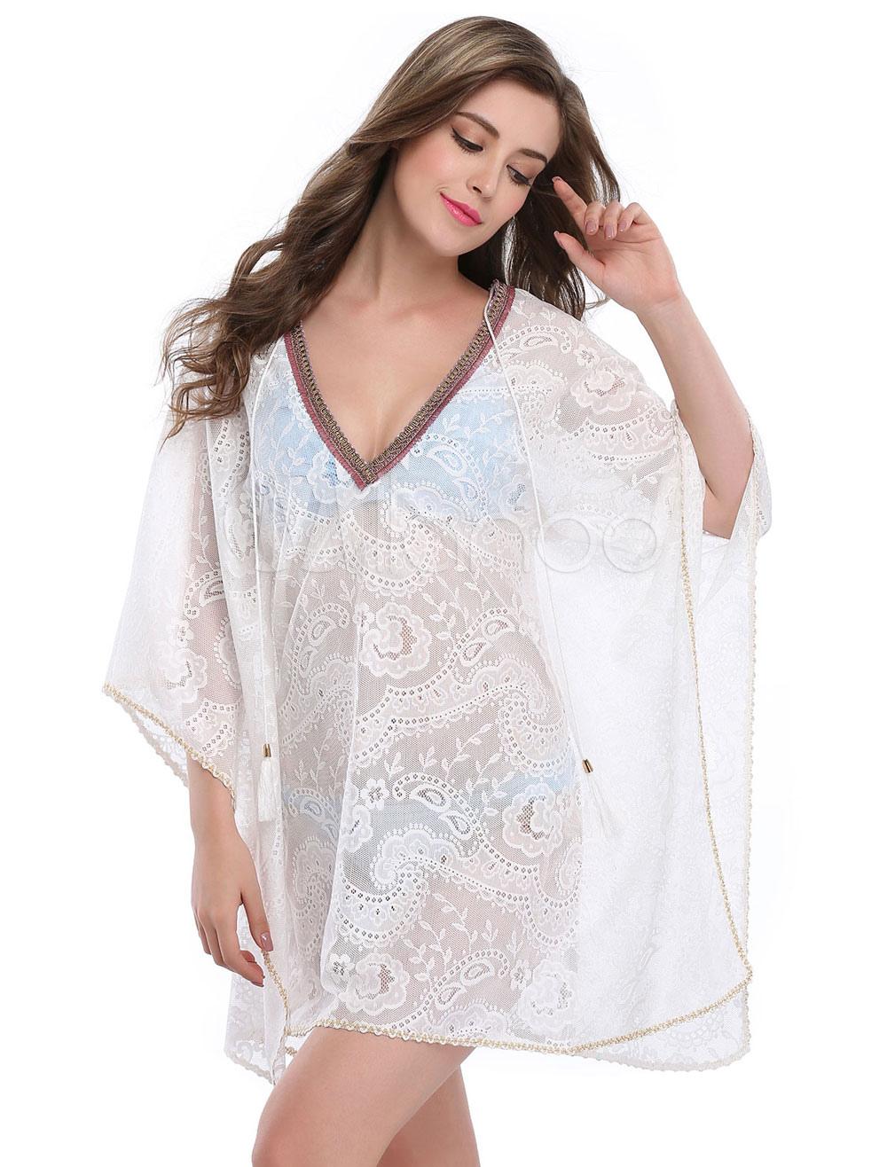Buy Chiffon Cover Ups White V Neck Long Sleeve Beachwear For Women for $18.89 in Milanoo store