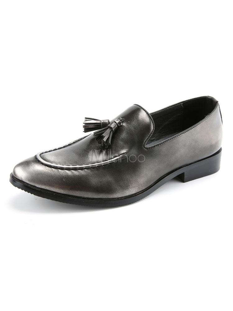 Zapatos de vestir de tacón gordo de puntera puntiaguada de PU Gradientes estilo moderno para hombre Primavera WusypK