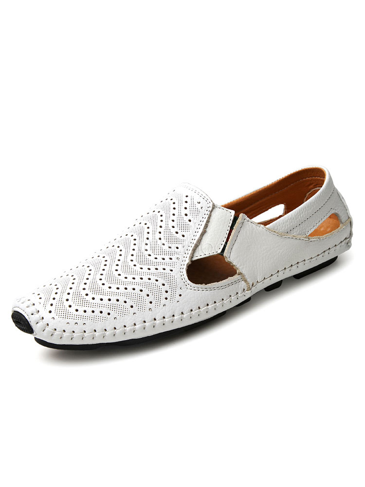 Men's Casual Shoes Round Toe Cut Out Perforated Slip On Breathable Loafer Shoes