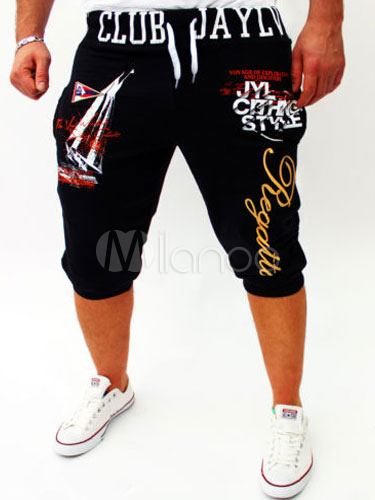 Men's Athletic Shorts Drawstring Letters Print Casual Running Shorts