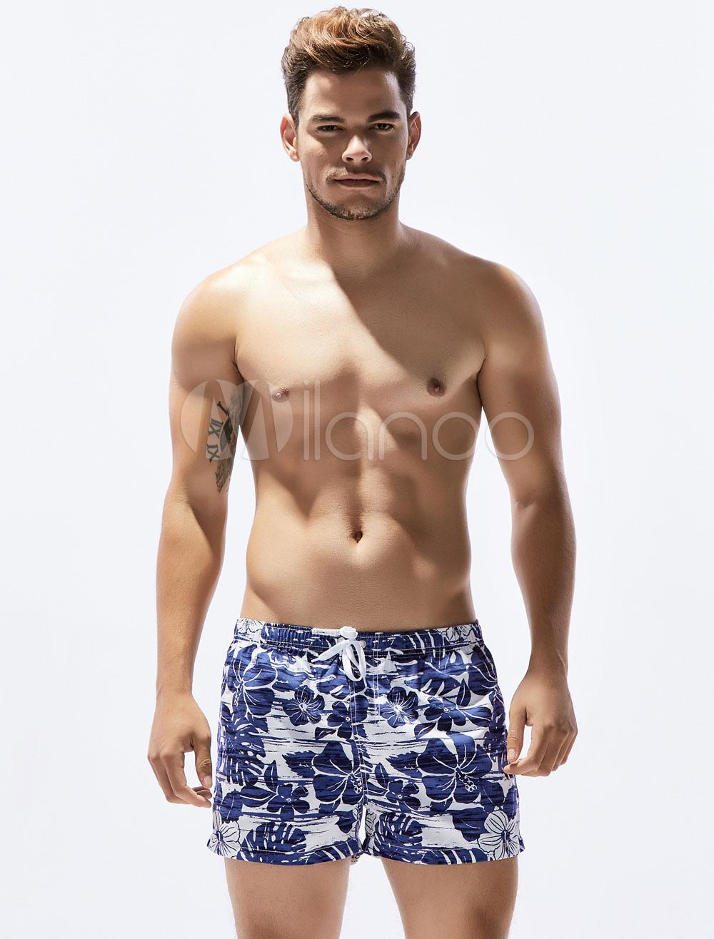 Buy Men's Casual Shorts Floral Print Drawstring Summer Beach Shorts for $12.74 in Milanoo store