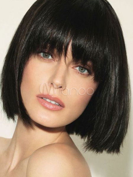 Short Bob Wig Layered Straight Blunt Bang Women Black Synthetic Wig Cheap clothes, free shipping worldwide