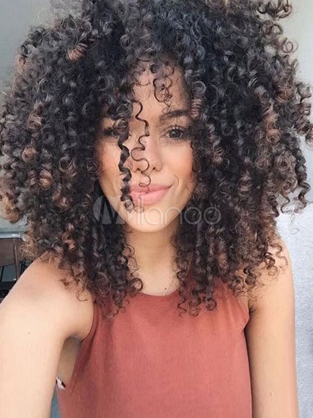 African American Wigs Tan Long Curly Women's Synthetic Hair Wigs