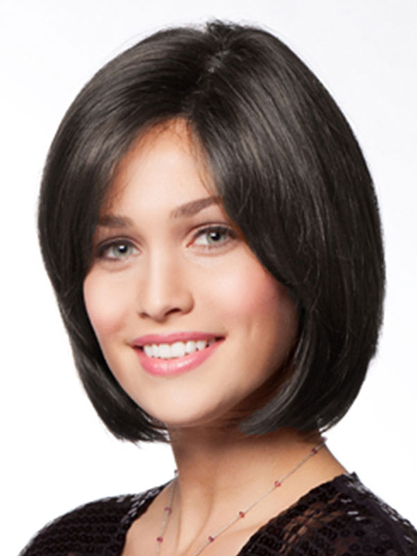 Black Bob Wig Women's Side Parting Short Straight Human Hair Wig