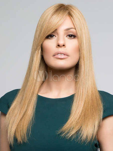 Buy Human Hair Wigs Long Straight Women's Side Swept Bangs Light Apricot Wigs for $89.23 in Milanoo store