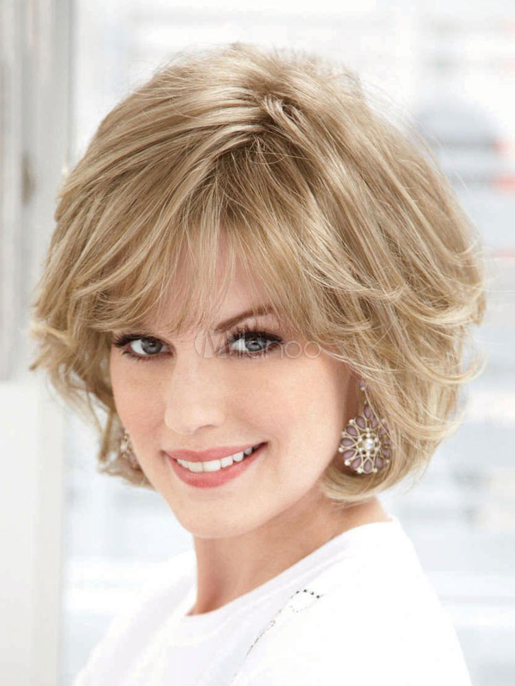 Buy Human Hair Wigs Women's Light Apricot Curly Short Hair Wigs for $50.59 in Milanoo store