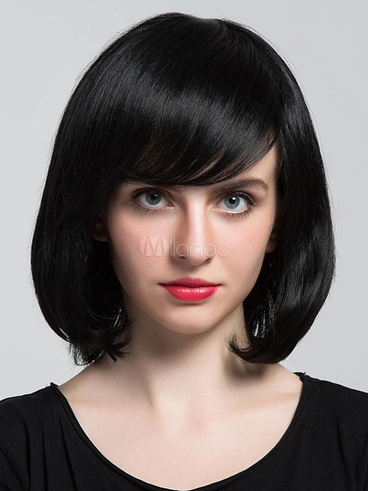 Human Hair Wigs Black Side Swept Bangs Straight Women Short Bob Wig