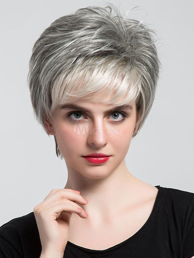 Human Hair Wigs Short Straight Women's Boy Cut Light Gray Wigs