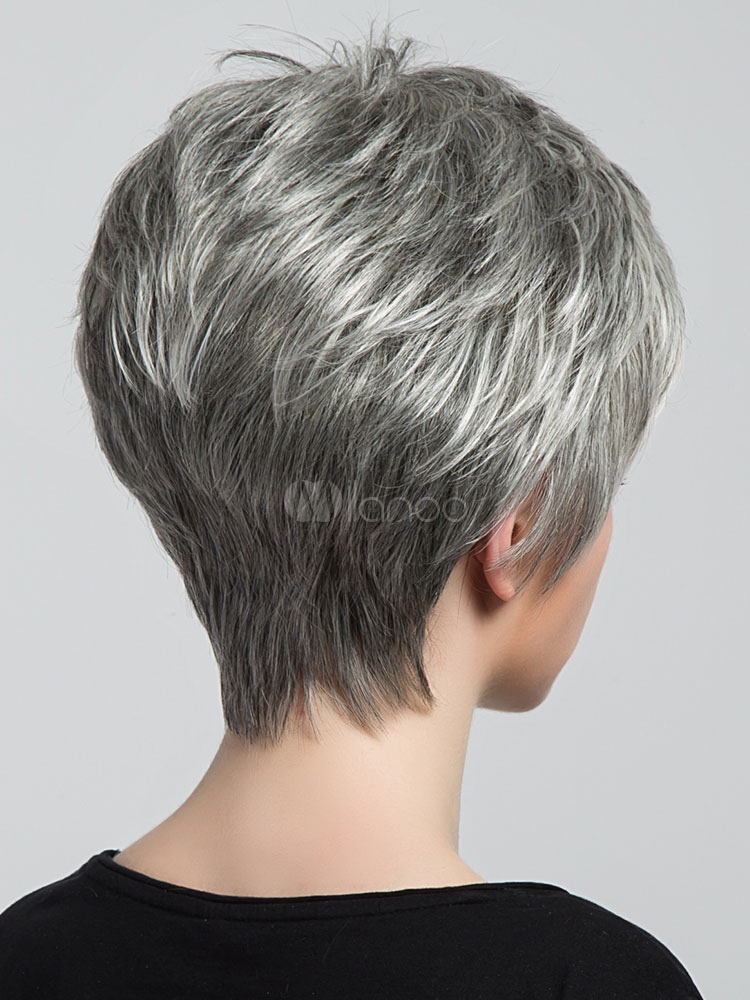 ... Human Hair Wigs Short Straight Women s Boy Cut Light Gray Wigs-No.2 0612a57449