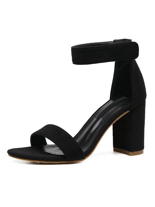 Buy High Heel Sandals Suede Black Open Toe Ankle Strap Block Heel Sandals for $29.69 in Milanoo store
