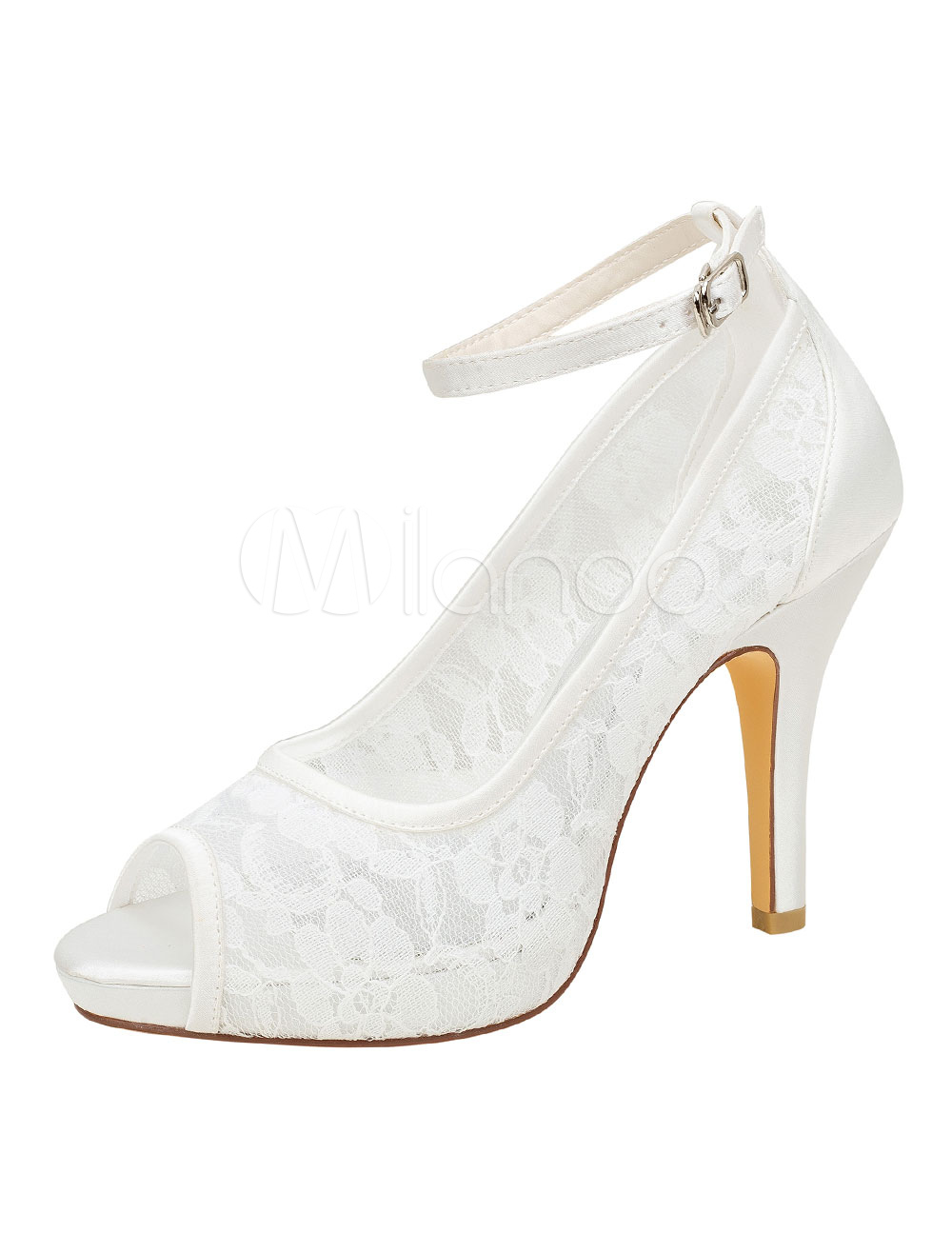 Buy Lace Wedding Shoes Ivory Peep Toe Ankle Strap High Heel Pumps for $57.59 in Milanoo store