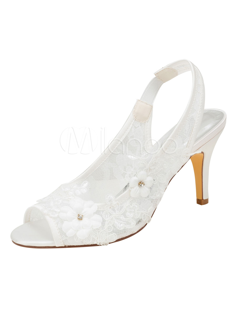 Buy Lace Wedding Shoes High Heel Ivory Peep Toe Flowers Beaded Slingbacks Bridal Pumps for $52.24 in Milanoo store