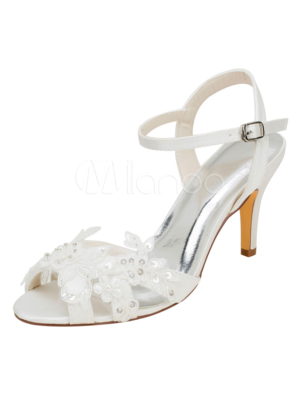 Buy Ivory Wedding Shoes High Heel Sequined Peep Toe Stiletto Bridal Sandals for $53.09 in Milanoo store