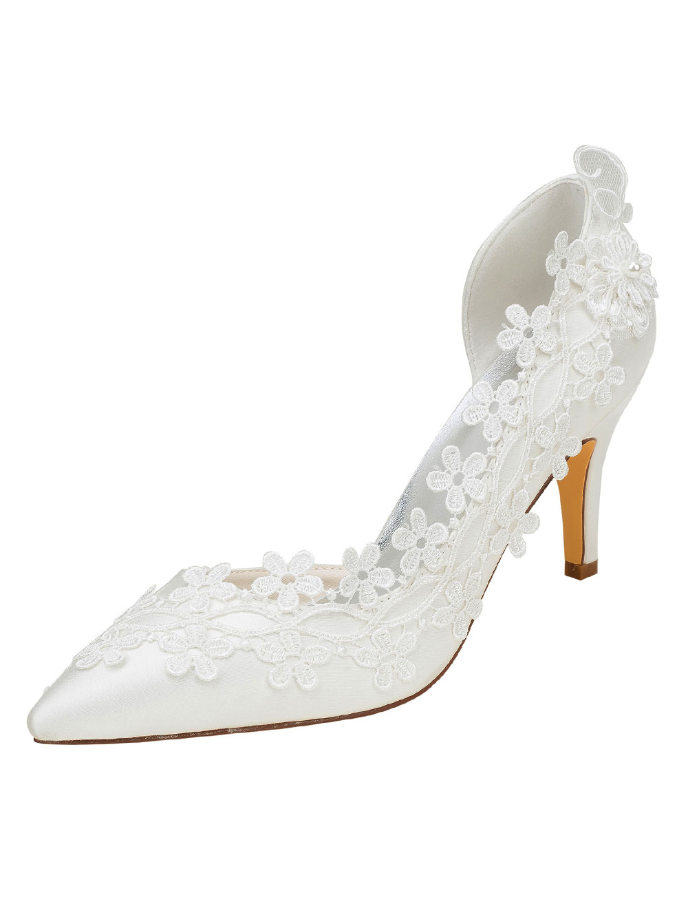 Ivory Wedding Shoes High Heel Pointed Toe Flowers Beaded Bridal Pumps