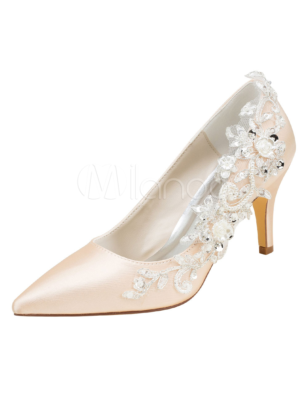 Champagne Wedding Shoes Silk High Heel Pointed Toe Flowers Detail Slip On Bridal Pumps