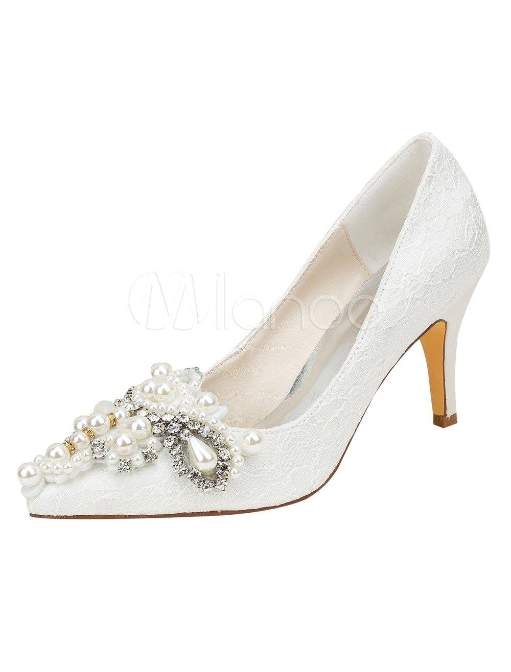 Lace Wedding Shoes Ivory Pointed Toe Rhinestones Beaded High Heel Pumps
