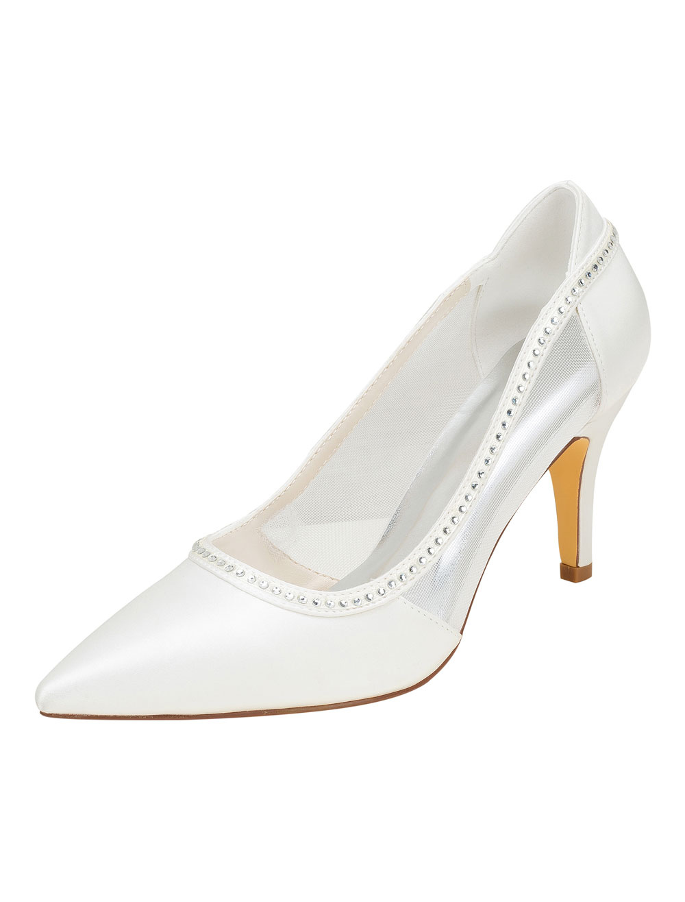 Ivory Wedding Shoes Silk High Heel Pointed Toe Rhinestones Slip On Pumps