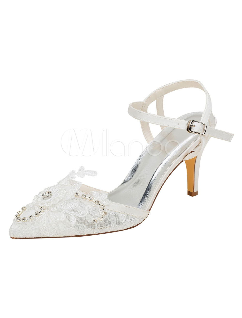 Buy Ivory Wedding Shoes Lace Pointed Toe Rhinestones Slingbacks High Heel Pumps for $53.09 in Milanoo store