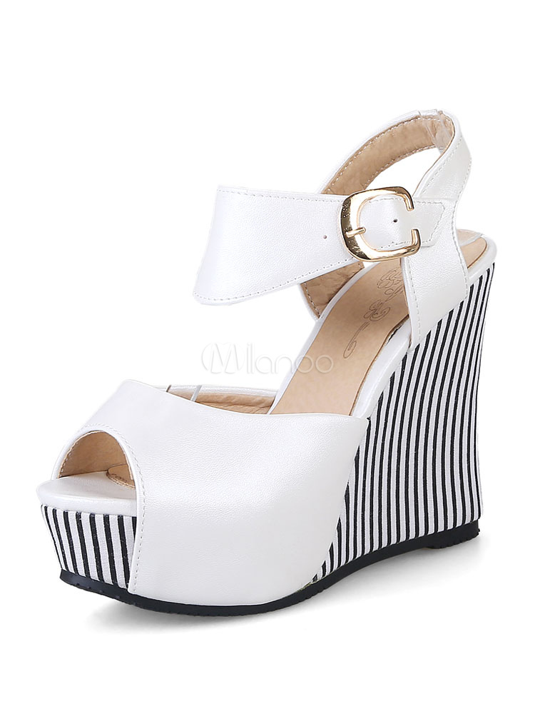 Buy White Wedge Sandals Peep Toe Platform Striped Sandal Shoes For Women for $31.49 in Milanoo store