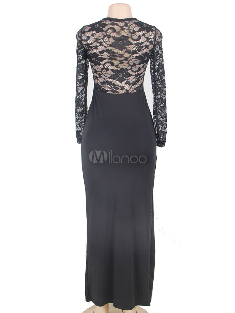 robe longue noir en polyester avec dentelle fendu col rond. Black Bedroom Furniture Sets. Home Design Ideas