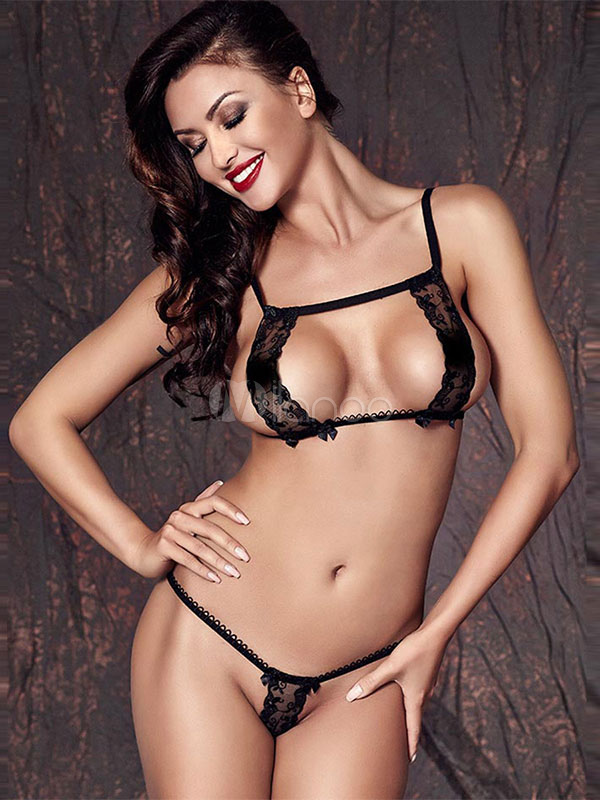 c8bd692b2 Lace Bra Set Black Cut Out Open Bust Bra With Sexy Panty - Milanoo.com