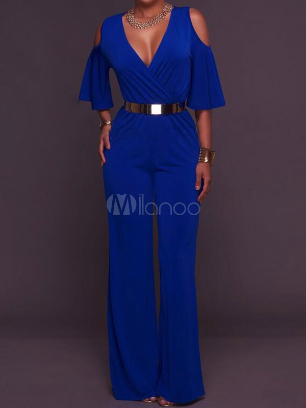 Wide Leg Jumpsuits Blue Cold Shoulder Women's Half Sleeve V Neck Long Jumpsuits