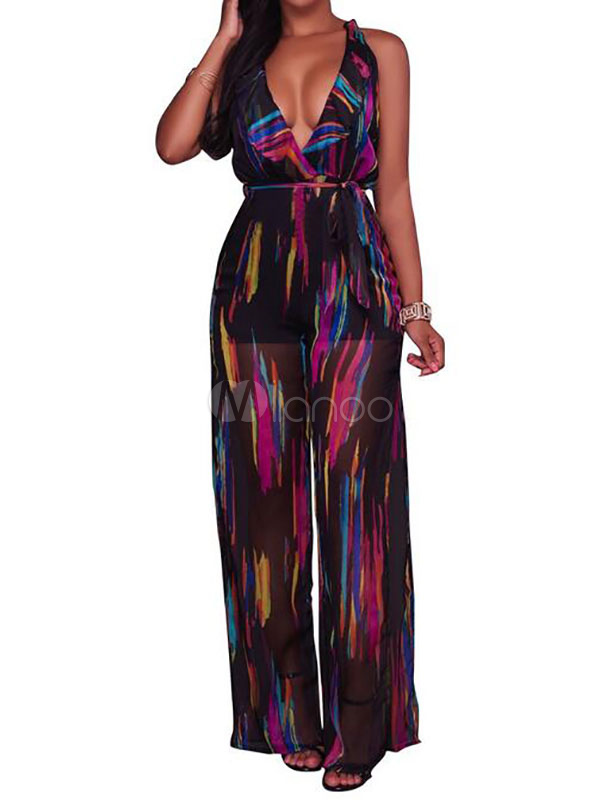 Buy High Waisted Jumpsuit With Print Plunging Ruffle Split Sexy Detail For Women for $33.24 in Milanoo store