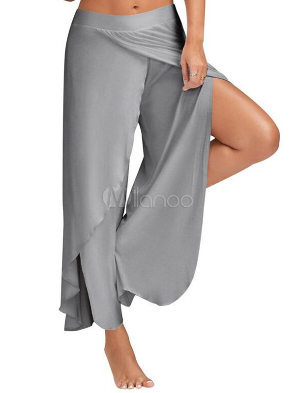 Women's Cropped Pants High Slit Draped Wide Leg Pants Cheap clothes, free shipping worldwide