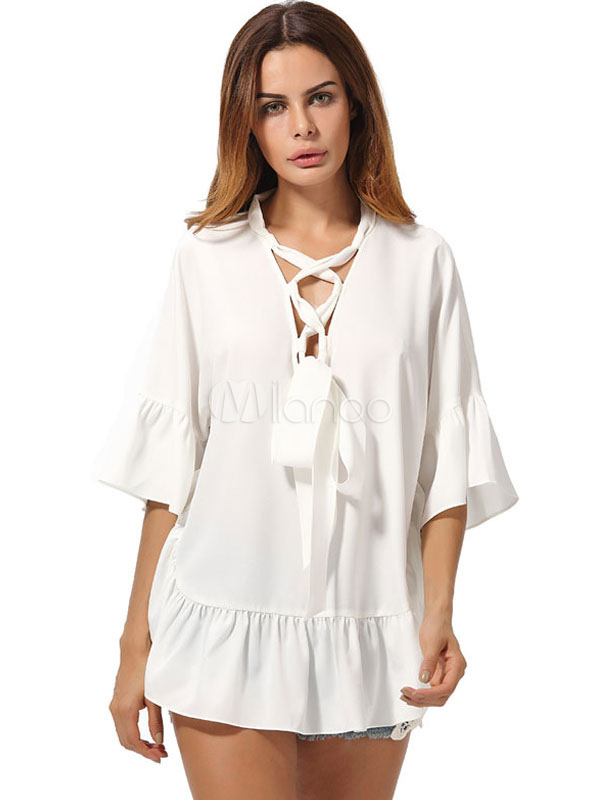 Buy Women's White Blouses Lace Up Bell Half Sleeve Ruffles Summer Tops for $23.74 in Milanoo store