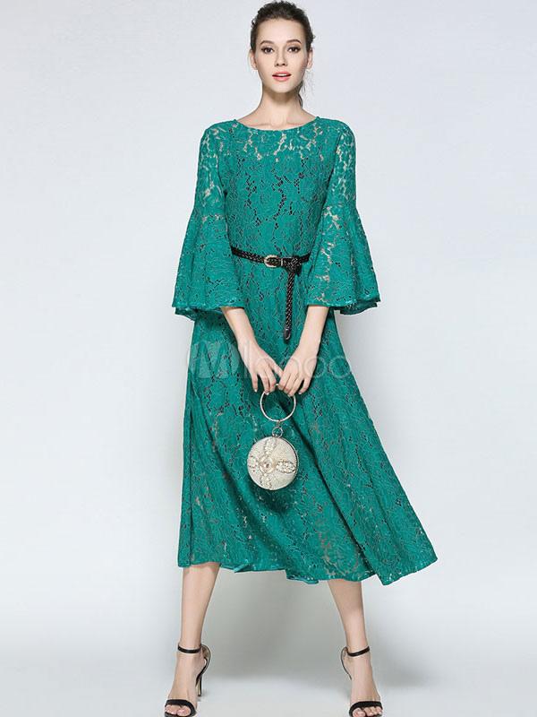 pretty nice c4d49 7108d Abito in pizzo verde di pizzo con scollo tondo maniche a 3/4 cintura  snellente donna per adulti