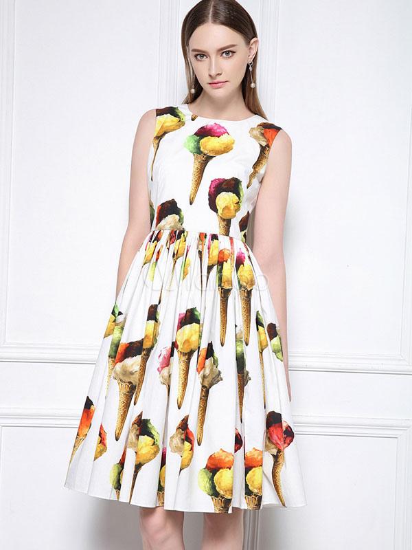 880bf8d0175272 White Skater Dress Round Neck Sleeveless Ice Cream Printed Pleated Flare  Dress-No.1 ...