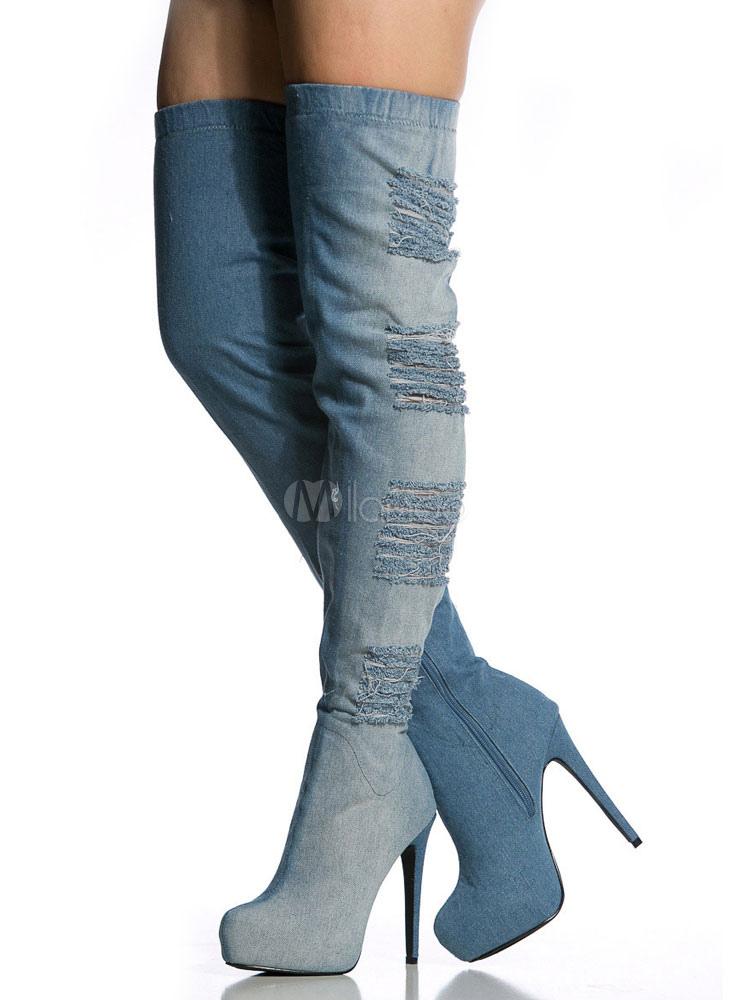 Botas sobre la rodilla de tela azul Gradientes estilo vaquero szcnA6z6LJ
