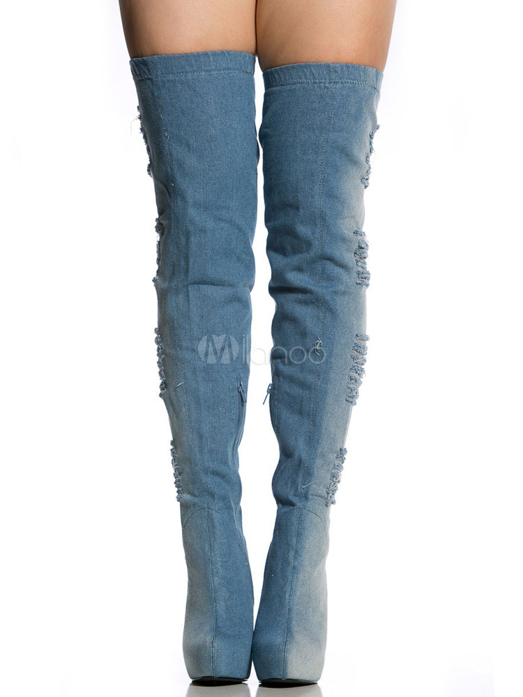 Thigh High Boots Plus Size Denim Almond Toe Ripped Stiletto Zipper Up Women's Platform High Heel Over Knees Boots