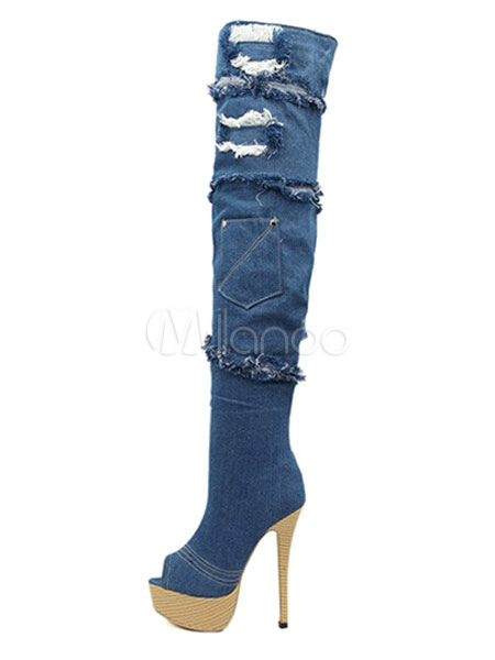 Buy Over Knee Boots High Heel Blue Peep Toe Platform Stiletto Denim Thigh High Boots for $112.49 in Milanoo store