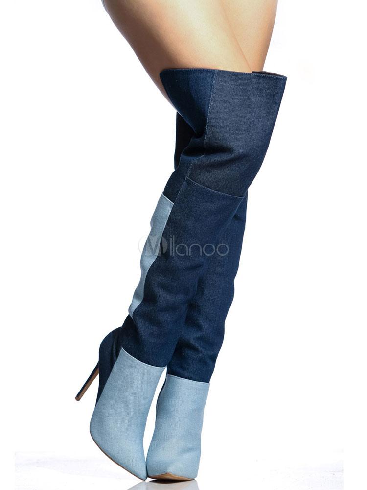 Botas sobre la rodilla de tela azul de color-blocking estilo vaquero 9ohz2r