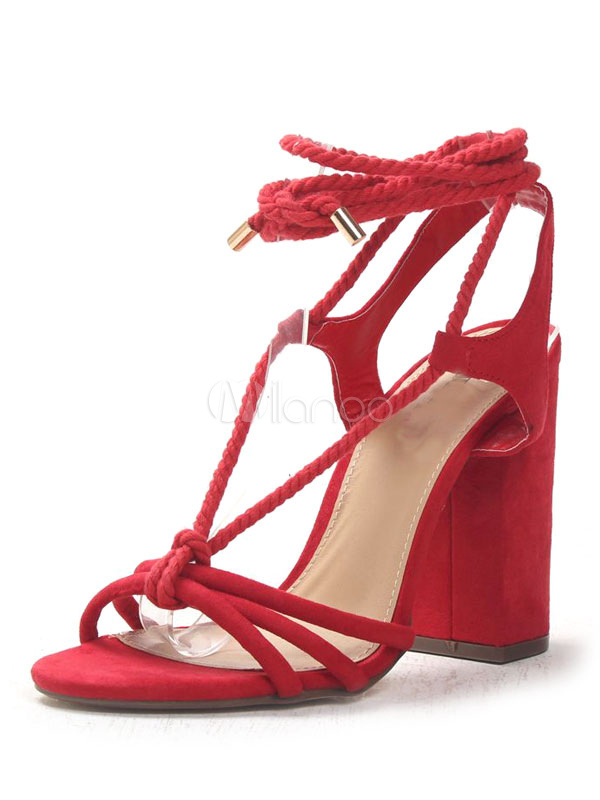 Buy High Heel Sandals Suede Women Open Toe Chunky Heel Lace Up Sandal Shoes for $37.99 in Milanoo store