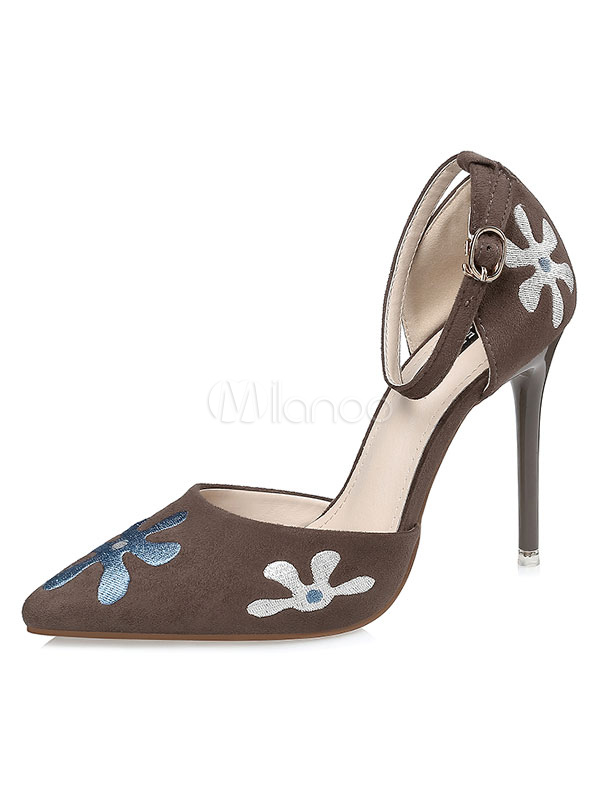 19b119c76b85 ... Black High Heels Pointed Toe Women s Floral Embroidered Ankle Strap  Pumps-No. ...