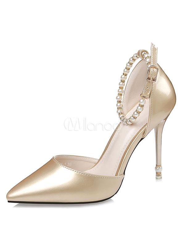 zapatos de novia charol pu color liso con perlas - milanoo