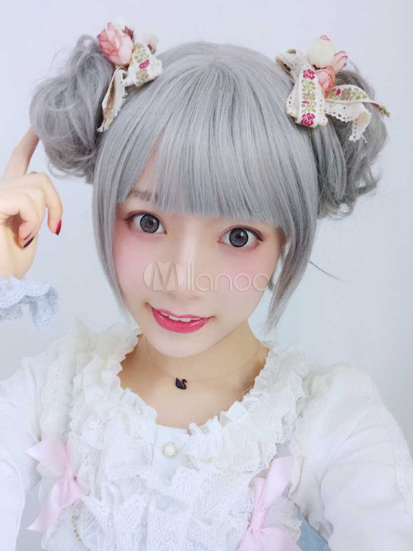 Buy Sweet Lolita Wigs Harajuku Pewter Blunt Bangs Curly Synthetic Hair Wigs for $24.29 in Milanoo store