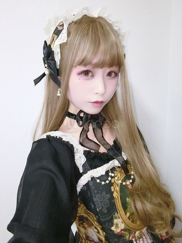 Buy Khaki Lolita Wigs Harajuku Long Curly Blunt Bangs Synthetic Hair Wigs for $21.99 in Milanoo store