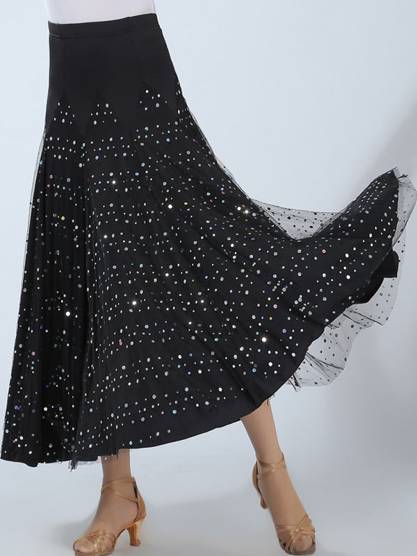 Buy Ballroom Dance Costume Women's Black Sequin Performance Maxi Skirt for $41.79 in Milanoo store